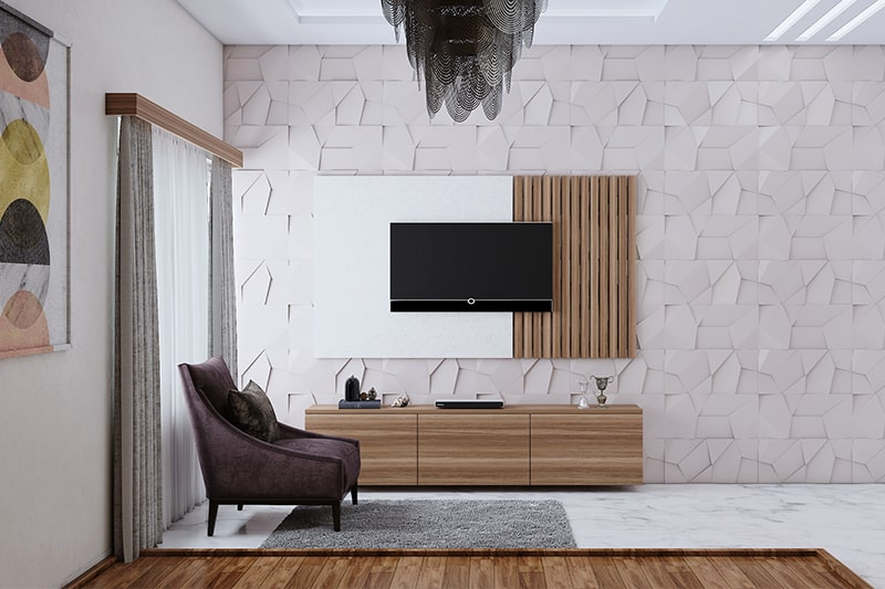 3d wallpaper designs for living room with muted neutral hues, 3d texture adds character