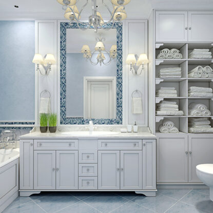Bathroom storage ideas for your home with a big cupboard with a lot of shelves for storage with bathroom storage box