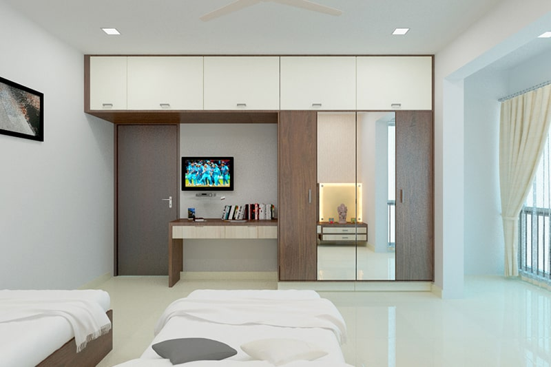 Bedroom almari design with a mirror to save your space and look more spacious for small bedrooms