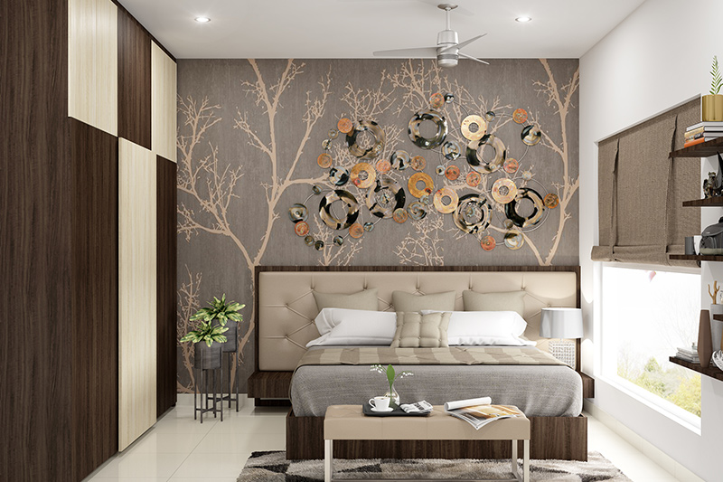 Bedroom decor ideas for newlyweds with a natural scenery on the headboard wall