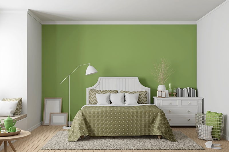Bedroom interior wall paint colors with green, it will give organic and natural look for your bedroom