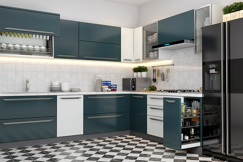 Contemporary l-shaped kitchen cupboard designs with a pull-out two-level drawer to store