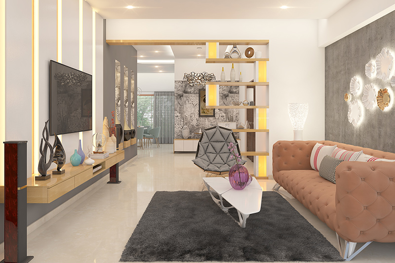 Corner showcase designs for drawing room with wood finished sunmica which is suitable for open style plan for showcase living room furniture