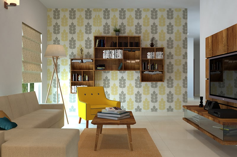 Creative living room wall decor with wallpaper, its best living room wall decor idea for small rooms