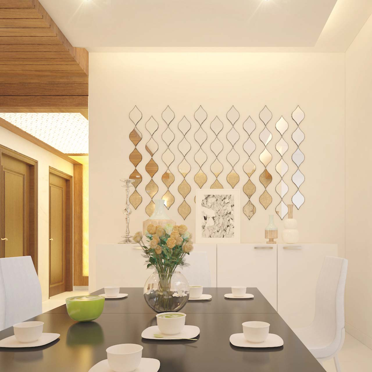 dining room designs for small spaces where you pick an interesting conversation starter to adorn the walls of modern dining room