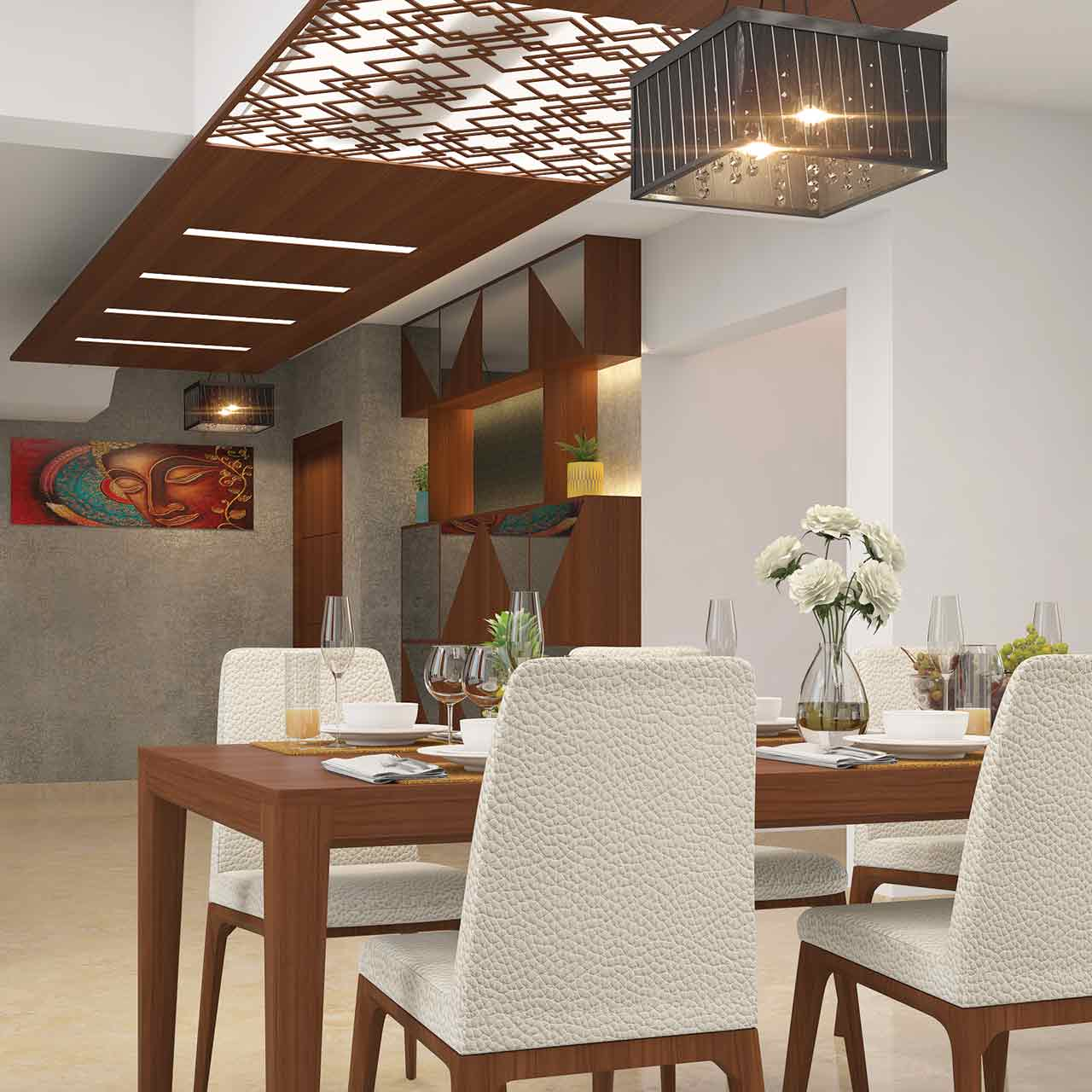 Dining room interior design where you can install a chandelier directly over the table of dining table in living room