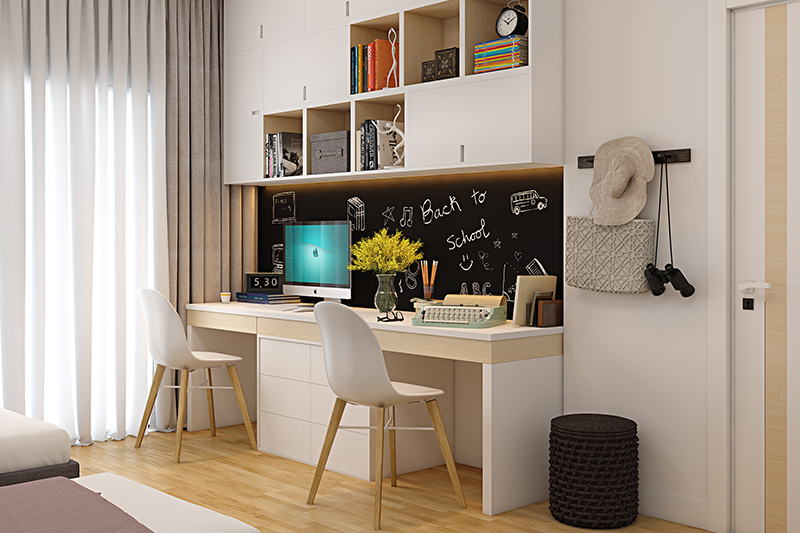 DIY study room decor for your home where both kids want seperate kids for themselves for study space ideas