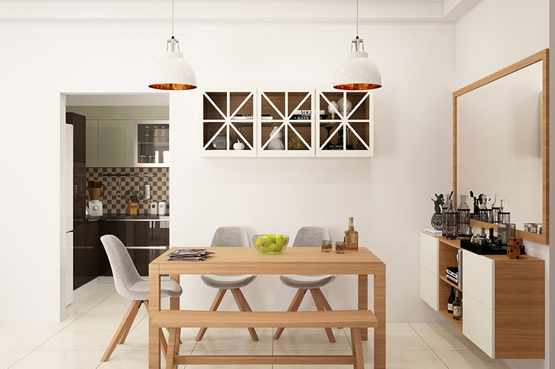 Floating dining room cabinets designed by wooden floating cabinet and white sunmica finish doors