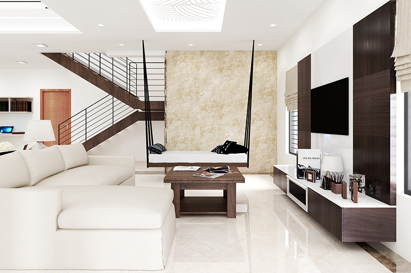 Tiles for living room are known for their glossy sheen and look elegant on living room floor design
