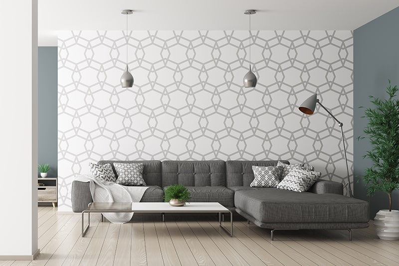 Geometric patterned living room wallpaper designs to bring evergreen style to your living room