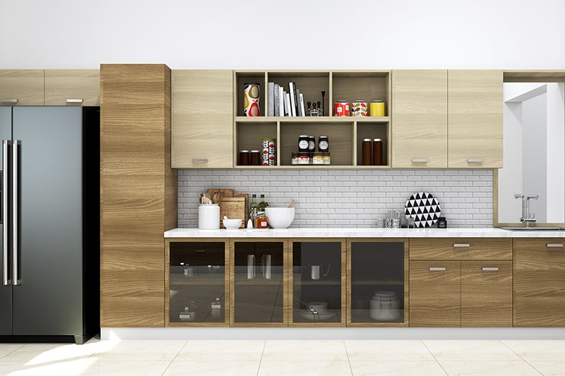 Glass kitchen cupboards with glass fronts instantly jazz up your interiors