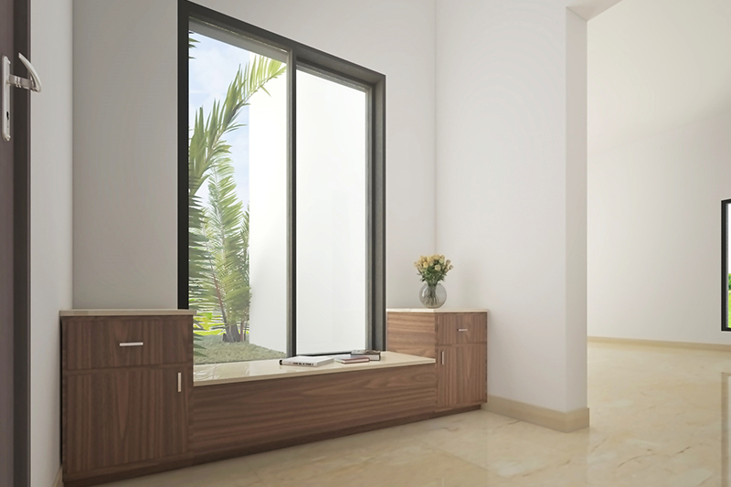Home entrance decor for a fabulous side window with plenty of natural light for entrance foyer design