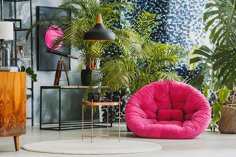 Interior design living room furniture to celebrate the green by adding house plants for living room design trends