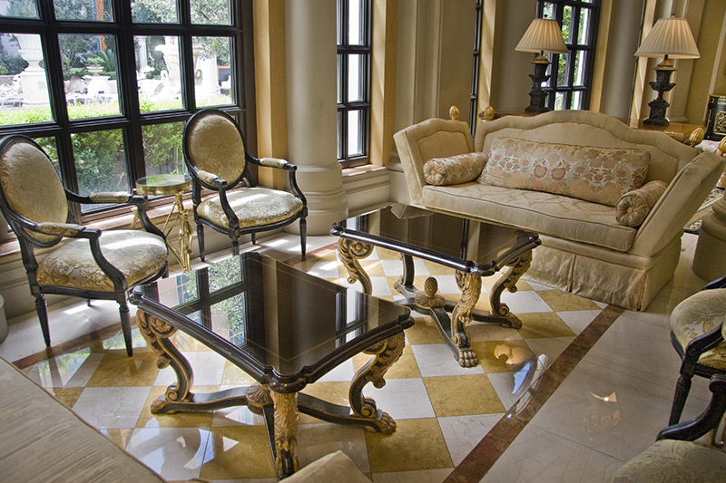 Italian marble flooring with check board patterns with slighty and smoothly textured marble flooring