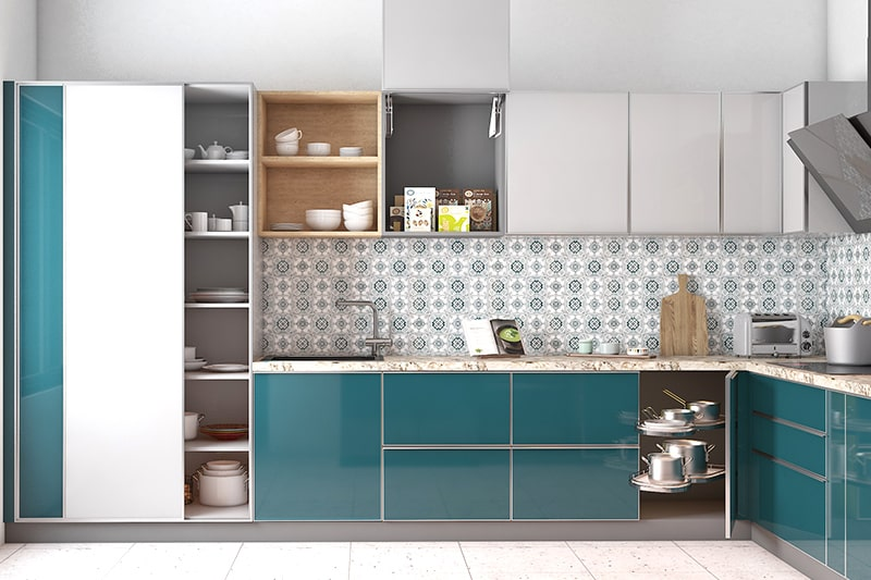 Kitchen cupboards with sliding door to store large pots, pans and more