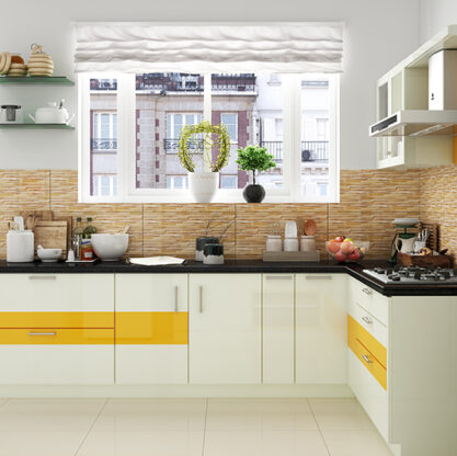 L shaped modular kitchen designs for indian homes with beautiful cabinets in l shaped kitchen design