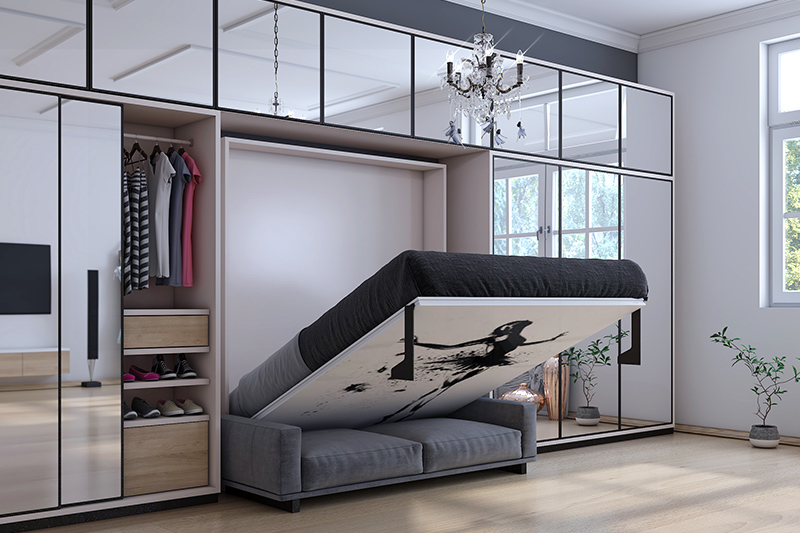 Latest wooden bed designs where the space saving bed designs are like a slide-under bed or a murphy bed or a kingsize bed design