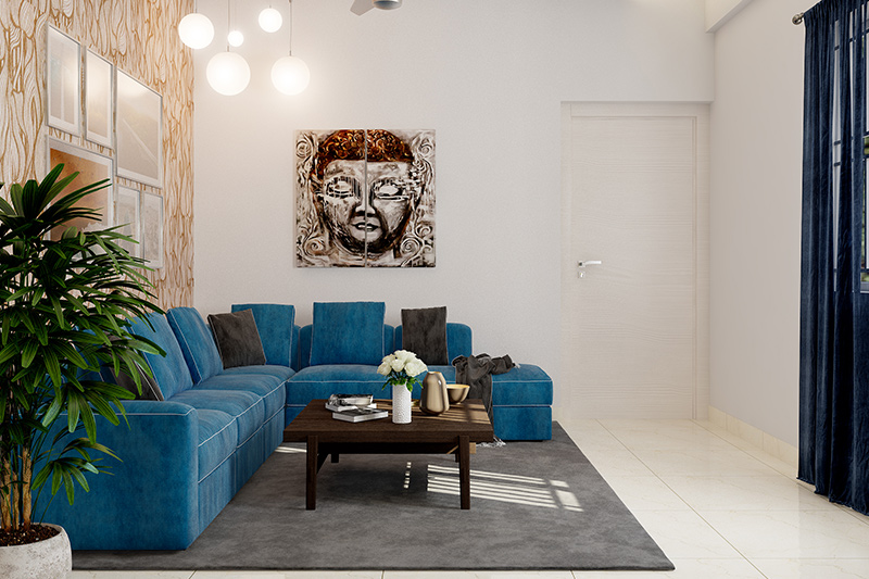 Living room design trends with the connection of blue