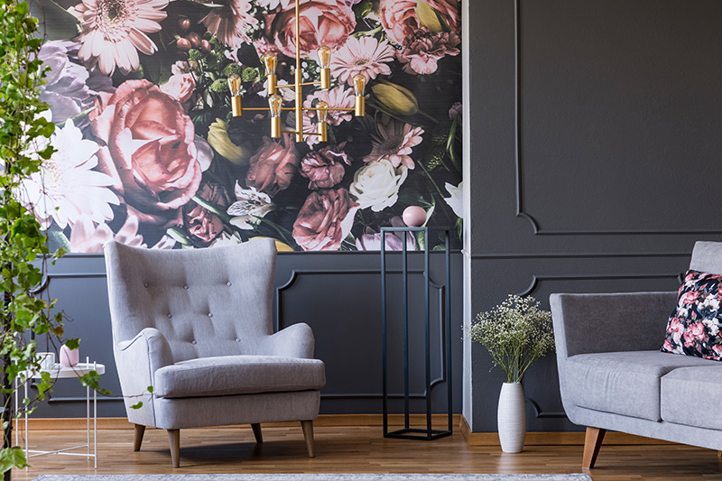 Living room design trends where floral wallpaper emerges out to get a new lease of life for latest living room trends