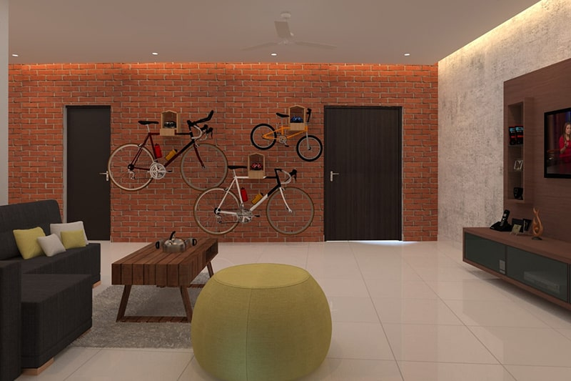 Living room wall decor ideas with bicycle art for a bachelor's living room