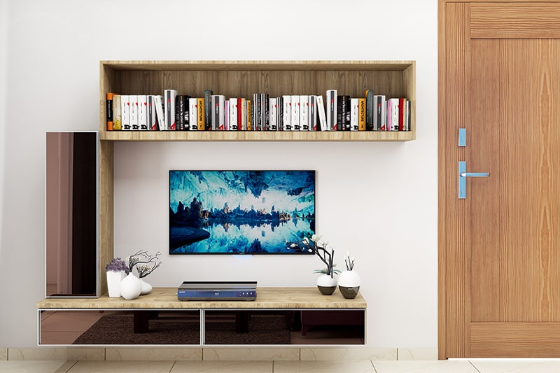 Living room wall decor with shelves, its look cultured and tasteful