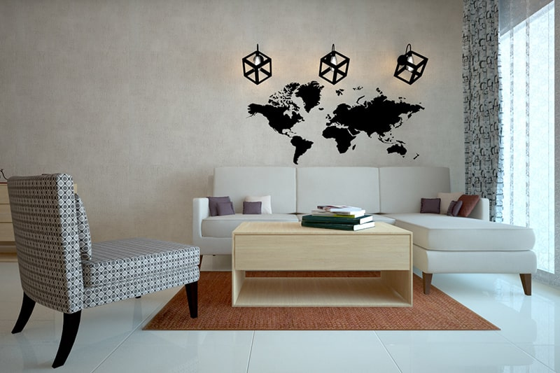 Living room walls decorating with a map of the world, it makes a beautiful wall decor for your living room