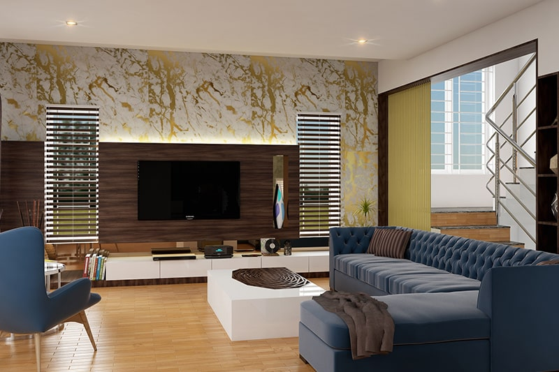 Living room wallpaper with shades of gold, it gives luxury looks on living room wall design
