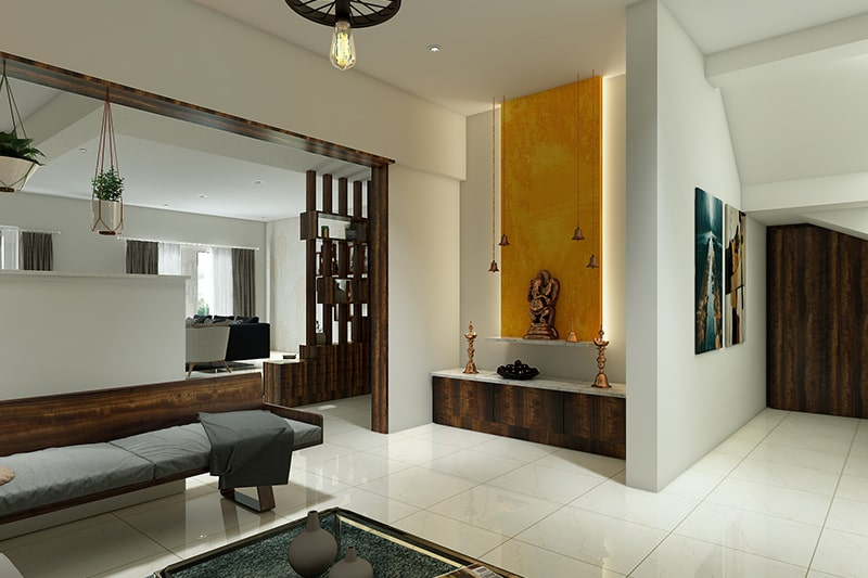 Modern pooja room design with the backlit panel is a great way to use light for a meditative vibe