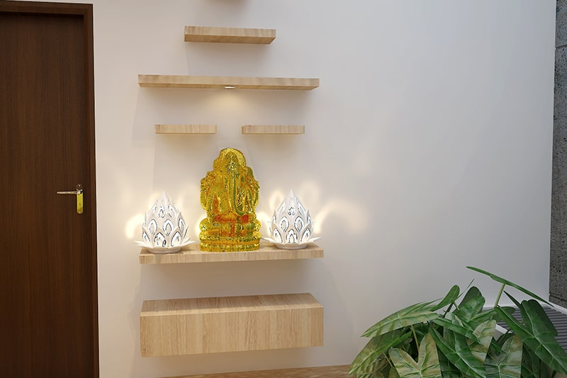 Modern pooja room designs with shelves to place idols and other pooja items