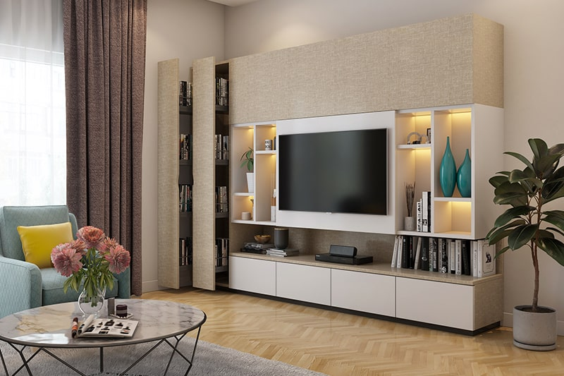 A multifunctional wooden showcase design for dining room and drawing room, it is suitable for modern homes