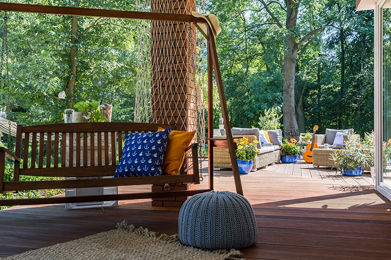 Outdoor garden design with a swing for a gentle to sleep