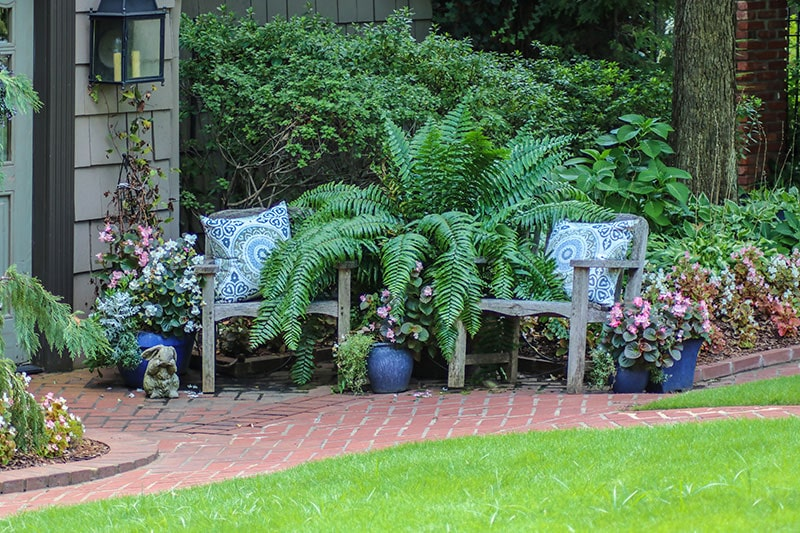 Outdoor garden design with a profusion of flowers and greenery