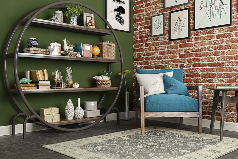 Peaceful study room design with a bookwheel is cool and a space saver as well