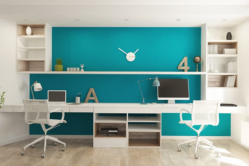 Peaceful best study room design with colours like brick, wine or maroon