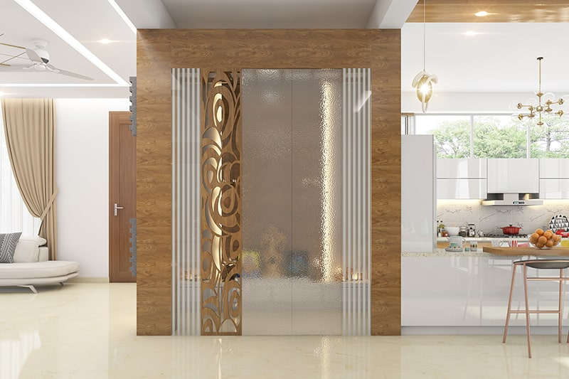 Modern pooja room designs with glass doors is a graceful and elegant option