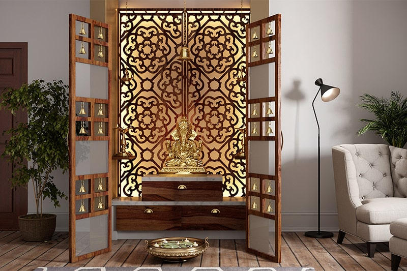 Pooja room units trends in bengaluru are wooden doors, antique molding, marbles and panel lights