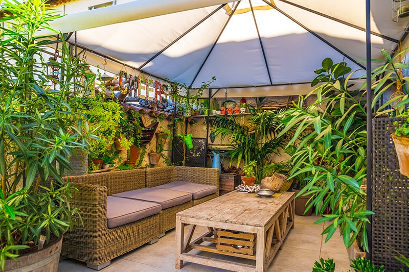 Outdoor space design with rattan furniture is mixed in with wood and masses of greenery