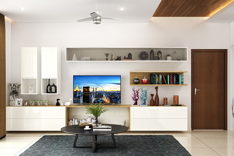 Showcase designs for living room with glass with a mix of open shelves and closed cabinets for modern showcase designs