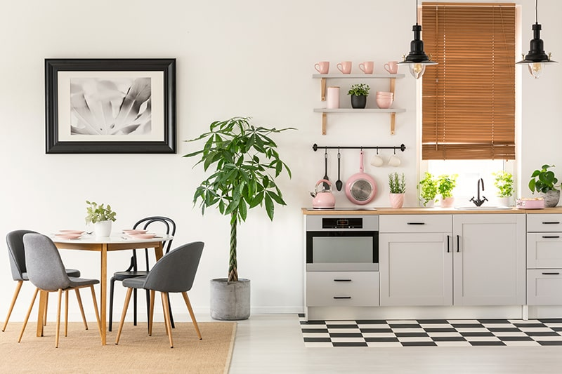 Small kitchenette design is to combine solutions such as pegs and rails with other storage such as cupboards and shelves