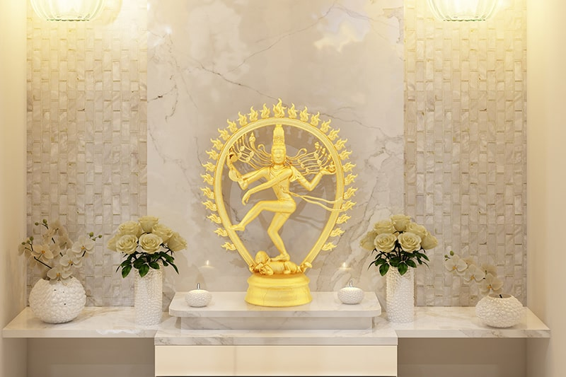 Small pooja room designs for indian homes with marble textures
