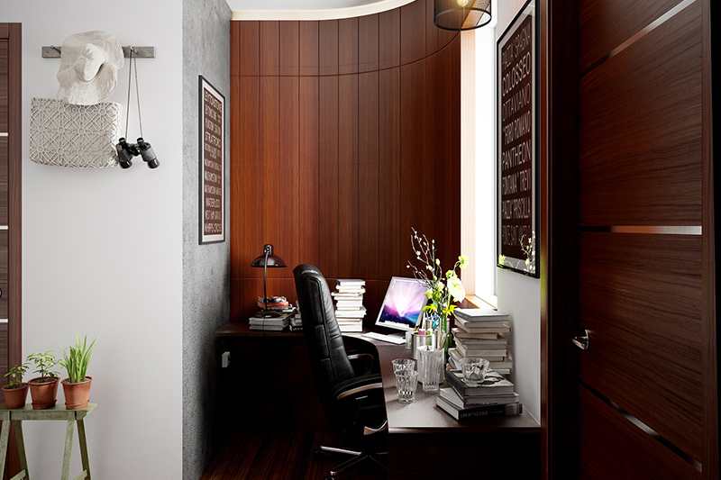 Small room study ideas with a big chair and a study table in the corner