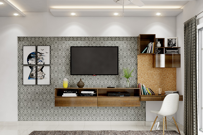 Small Study ideas with a tv unit attached to the study table with rectangular cabinets