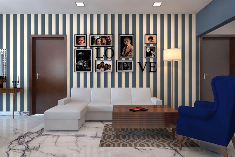 Striped living room wallpaper designs gives a cool and urban style statement to your living room