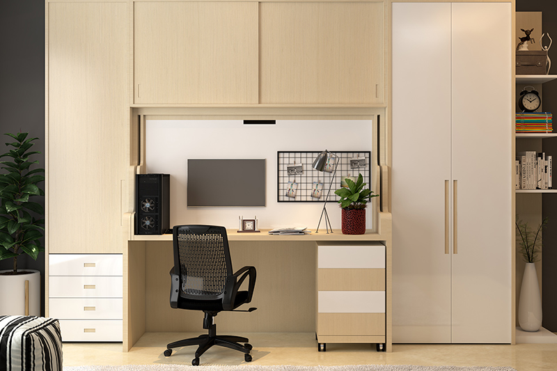 Study ideas for small spaces with a study table customised inside the cabinet