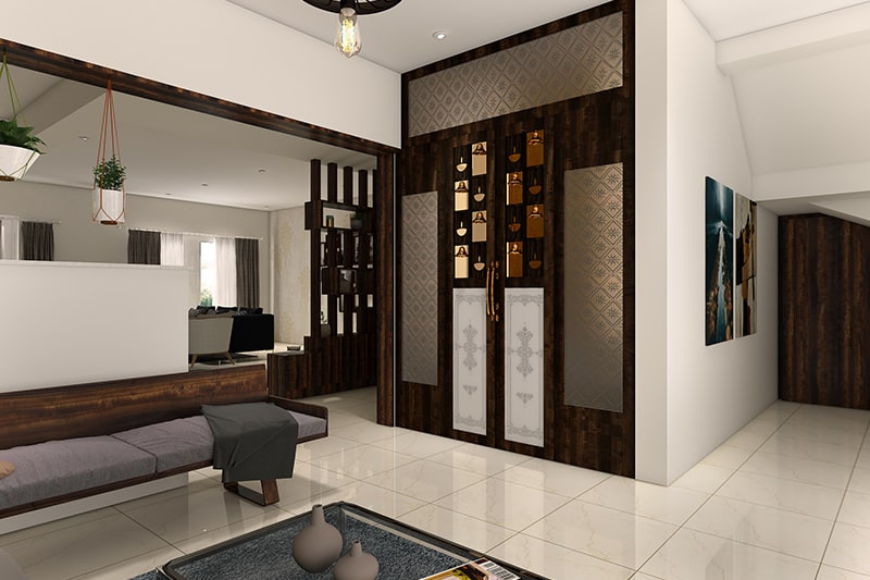 Traditional pooja room designs for indian homes with hanging temple bells and placing photos