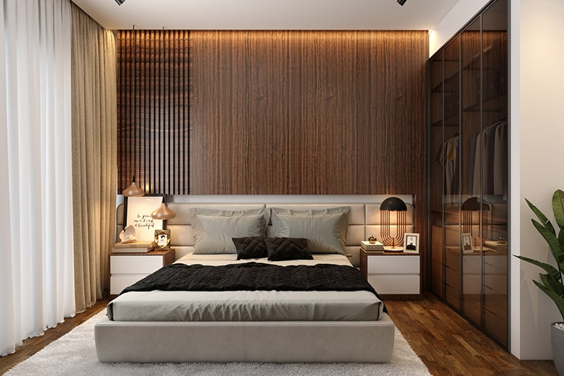 Translucent almirah shutters or wardrobes make your indian bedroom interiors look trendy