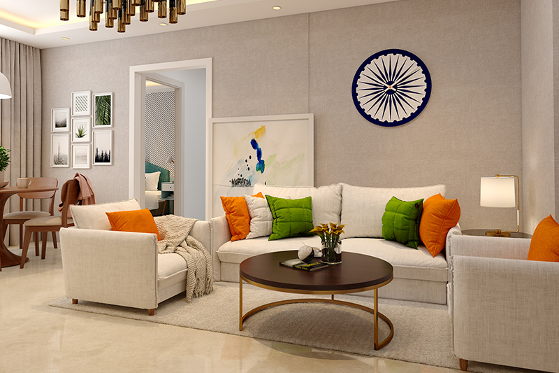 Tricolour wall hanging to decorate home for republic day along with tri colour sofa cushions