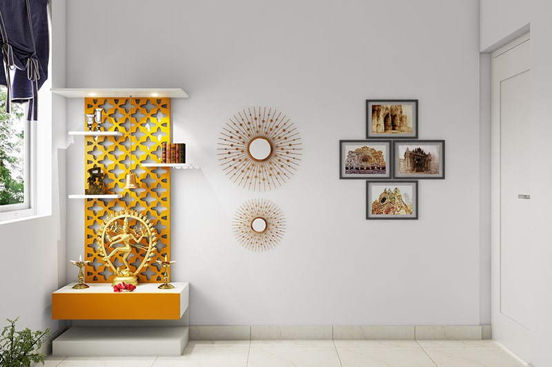 Vastu colors for prayer pooja room can be use white, yellow, light green and saffron orange