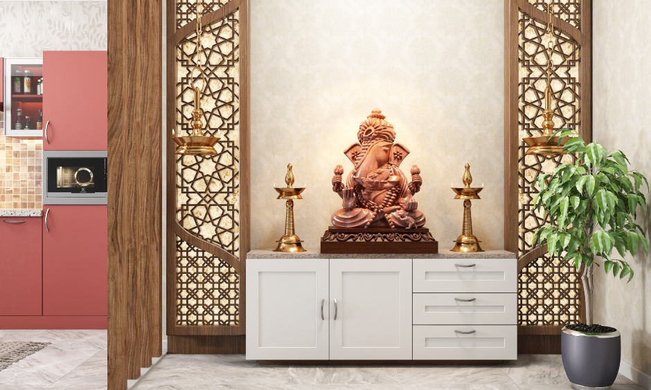 Vastu ganesha pictures with a seperate room for lord ganesha with a rustic feel of the moorti of vaastu ganapati