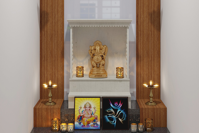 Vastu tips for pooja room design with a well decorated pooja room